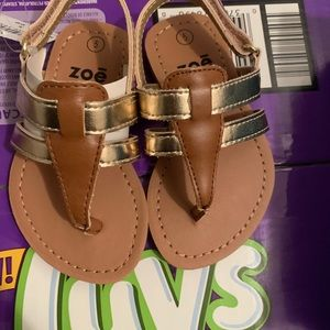 Baby brown and gold sandals